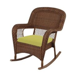 Martha Stewart Living Charlottetown Brown All Weather Wicker Patio Rocking  Chair With Green Bean Cushion