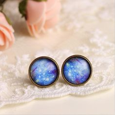 Sky blue little time gem earrings / ear