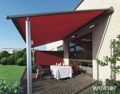 Weinor plaza retractable pergola for the home. High wind rating with electric retractable roof made to measure and choice of colours and fabrics