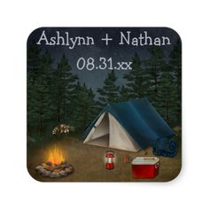 "Rustic Camping ""Glamping"" Wedding Favor Sticker"