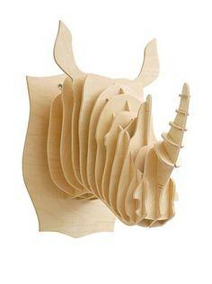 Eco Décor Laser-Cut Animal Trophy Rhinoceros Head, Maple