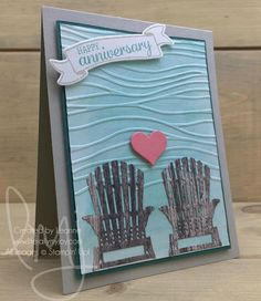 Sending anniversary wishes to my in-laws. #bestbirds #bannersforyou #stampinup #literallymyjoy #papercrafting #cardmaking #stampinupdemonstrator #anniversary #wedding #beach #love #lake #lakeview #tranquiltide #20172018AnnualCatalog #linkinprofile