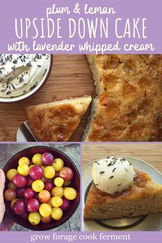This plum and lemon upside down cake is the perfect easy dessert recipe for summertime entertaining. It's baked in a cast iron skillet, then topped with lavender whipped cream. Lemon Upside Down Cake, Baking Recipes, Real Food Recipes, Easy Desserts, Dessert Recipes, Yellow Plums, Plum Cake, Food L, Cast Iron Cooking