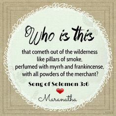 Song of Solomon 3:6 (KJV)  Who is this that cometh out of the wilderness like pillars of smoke, perfumed with myrrh and frankincense, with all powders of the merchant?