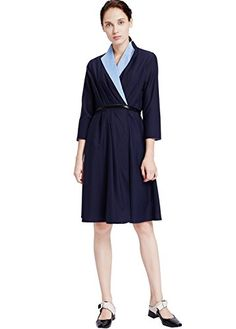 71b479ded4b My Bun 2017 Autumn Slim Fit Womens Casual Temperament Knee Length Plus Size  Dresses at Amazon Women s Clothing store