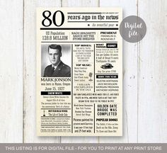 80th birthday poster - Personalized 80th Birthday Gift for grandpa dad grandparents father in law - Fun facts 1937 - DIGITAL FILE! by LillyLaManch on Etsy https://www.etsy.com/listing/262710894/80th-birthday-poster-personalized-80th