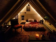 Hearing rain on the roof makes this cozy bedroom extra cozy cozyplaces teenage attic bedroom attic bedrooms with sloped ceilings Comfy Bedroom, Bedroom Loft, Bedroom Decor, Coziest Bedroom, Bedroom Ideas, Teenage Attic Bedroom, Attic Bedrooms, Attic Renovation, Attic Remodel