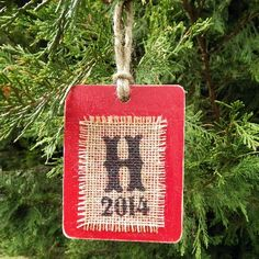$10 Monogrammed Blitzen Burlap and Wood Christmas Ornament Get yours here: http://www.morgan-company.com/product.cfm?p=3886&c=47&page=monogrammed-blitzen-burlap-and-wood-christmas-ornament