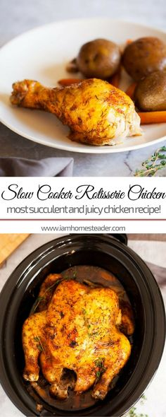 SLOW COOKER ROTISSERIE CHICKEN | If you're looking for easy dinner recipes for our family, this is perfect for you! Simple food   chicken recipe but most succulent and juicy! Check us out @iamhomesteader for more healthy homemade cooking and easy homesteading recipes you can do at home. #healthyliving #Homestead #homesteading