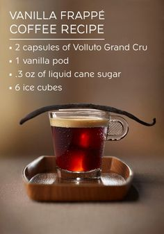 Elevate your iced coffee experience by trying out this Vanilla Frappe Coffee recipe made with the bold flavors of Volluto Grand Cru, liquid cane sugar, and a vanilla pod. The intense vanilla flavor delightfully rounds out the savory taste of Nespresso.