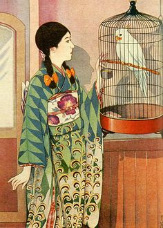 Japan antique art. illustrator / Masawo Kato.   kimono beauty lady. last years of the taisyou period / early Showa period.