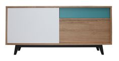 61265 Buffet 3 portes coulissantes collection Vintage retro année 50 chêne blanchi bois massif et laqué blanc et vert bleu canard sur mesure style vintage retro année 50 bois massif pirotais