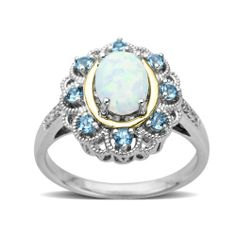S&G Sterling Silver and 14K Yellow Gold Opal and Blue Topaz with Diamond Accent Ring, Size 7 - Fashion Jewelry