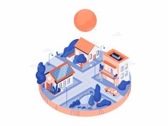 neighborhood designed by Magda for Fireart Studio. the global community for designers and creative professionals. Sun Illustration, Flat Design Illustration, Isometric Art, Isometric Design, Interactive Infographic, City Layout, Photoshop Photography, Motion Design, The Neighbourhood