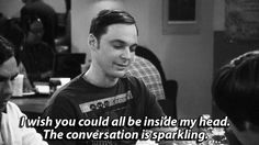Introverts. :) Sheldon Cooper, Big Bang Theory, I wish you could all be inside my head. the Conversation is sparkling.