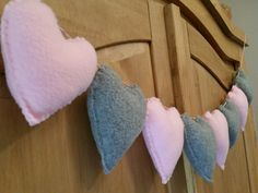 Baby pink and grey fleece heart garland. Nursery bunting. MADE TO ORDER by Twiddliebits on Etsy
