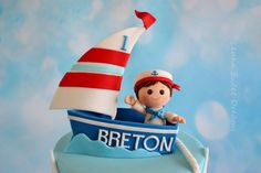 A Cake For A Little Sailor . Birthday cake for a little sailor. Fondant Toppers, Sweet Dreams, First Birthdays, Sailor, Birthday Cake, Baby Shower, Sweets, Cakes, Christmas Ornaments