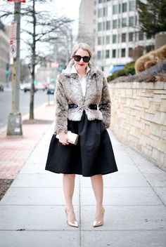 Belt a faux fur jacket over your 9 to 5 look for a Holiday Party...