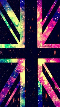 Vintage fire British flag galaxy iPhone/Android wallpaper I created for the app CocoPPa!
