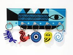 Fish | Wall plexiglass keyholder with magnets screenprinted & lazer cutted | 30 x 10 x 0.8 cm