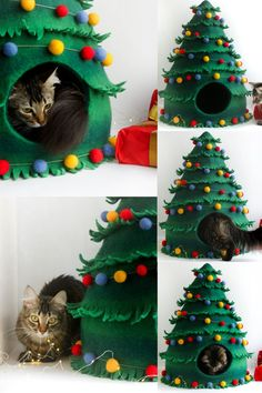 Unique Christmas decorations that you can use all year make decorating easier and post-holiday storage even easier. Because you'll use these items all year long Cat Christmas Tree, Christmas Animals, Felt Christmas, Cat Hacks, Cat Diys, Unique Christmas Decorations, Cat Room, Pet Furniture, Cat Crafts