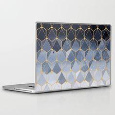 Blue gold hexagonal pattern Laptop iPad Skin ($31) ❤ liked on Polyvore featuring accessories and tech accessories