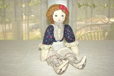 Vintage Rag Doll. Cloth Doll in Victorian by RamshackleVilla,