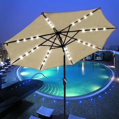 Solar Lights For Patio Umbrellas Fascinating 10'x65' Solar Rectangle Tilt Patio Umbrella 20 Leds Color Opt Design Inspiration