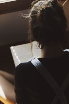 Messy bun, hair, photography, chill, hipster, overalls, books, reading