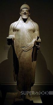 Phoenician art. Cyprus. Statue of a priest. Late sixth century BC.  Archaic Period. Limestone. It comes from Golgoi (Cyprus). Metropolitan Museum of Art. New York. United States.