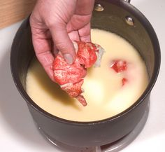 Butter-Poached Lobster Tail With Sauce Fines Herbes Butter is our favorite fat, but it is rarely used to its fullest advantage in the home kitchen, where it's confined to gentle sautes and as a spread for vegetables . Lobster Meat, Lobster Tails, Lobster Recipes, Seafood Recipes, Seafood Dishes, Butter Poached Lobster Tail, Stick Of Butter, Fish And Seafood, Snacks