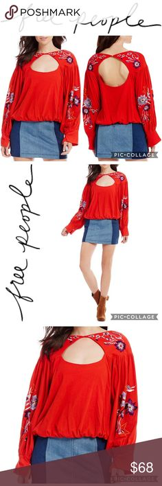 Free People Top Free People Lita Embroidered Floral Bell Sleeve Blouse - New with Tags - Size Small - Color Red ♥️ *** More Pics coming soon *** Free People Tops Blouses