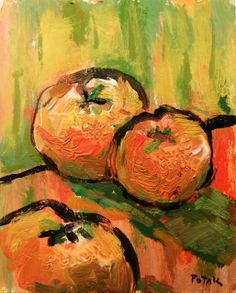 Still LIfe Oranges Painting green yellow fruit by PaintingsByPotak, $100.00