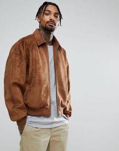 ASOS Oversized Faux Suede Harrington Jacket in Tan