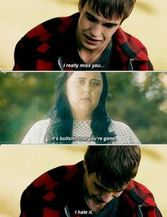 In a concussed dream, Finn talks to Rae at her grave (My Mad Fat Diary)