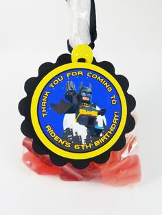 Lego Batman Movie birthday party favor tags.  Pefect for party favors, goody bags, favor boxes.  Stickers available intstead of hanging favor tags