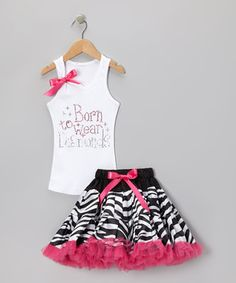 A bow-accented tank and wild skirt make this twirlable twosome impossible to resist! Crafted with an elastic waistband on the skirt and a machine-washable construction, this outfit goes on in a cinch and can be worn again and again!