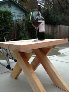 EZ patio end table I built using same design as picnic benches.  #patio #furniture #diy #table