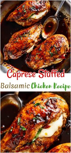 Here you are going find quick, easy and budget-friendly chicken recipes that will work perfectly for your busy weeknights. Caprese Stuffed Balsamic Chicken Recipe, Baked Caprese Chicken, Balsamic Chicken Recipes, Chicken Parmesan Recipes, Chicken Thigh Recipes, Baked Chicken Breast, Stuffed Chicken Recipes, Healthy Stuffed Chicken, Caprese Recipe