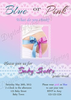 Shop for on Etsy, the place to express your creativity through the buying and selling of handmade and vintage goods. Baby Shower Gender Reveal, Baby Shower Themes, Baby Shower Printables, Baby Shower Invitations, Digital Invitations, Reveal Parties, Pink Blue, Rsvp, Invite