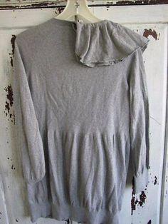 Moth-Maglione-L-Large-Anthropologie-volant-cardigan-giacca-grigio-Boutique-B35