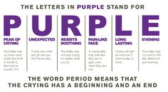 The Period of PURPLE Crying is a normal developmental stage that happens sometime from 5 weeks to 5 months where babies just cry. It's a rough time, but super normal.
