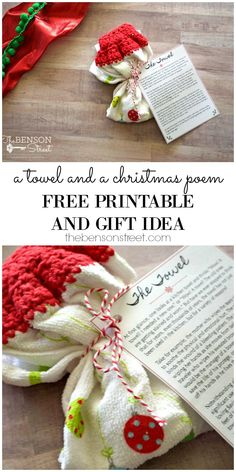 A simple and easy, but meaningful Christmas gift for neighbors, friends, family, co-workers, etc. Grab the idea and free printable Christmas Towel Story at thebensonstreet.com #christmasstories #christmasstory #christmastowel #neighborgifts #teachergifts #giftideas #coworkers #christmasgift #christmas