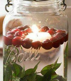 Cranberries + water + drijfkaars
