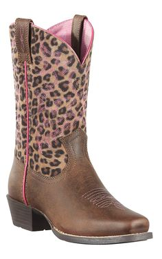 Ariat Legend Youth Distressed Brown w/ Leopard Print Top Square Toe Cowboy Boots