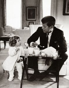 John F. Kennedy with his daughter Caroline in 1960