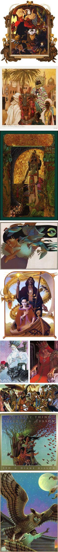 "Leo and Diane Dillon - ""Illustration compilation (via linesandcolors)"""