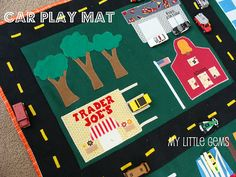 @Elizabeth Lott Homemade car play mat - would be great to make on a cookie sheet and entertaining for the boy during long car rides!