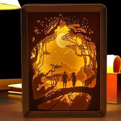 Light and Shadow Night Lamp Paper Carving Art - Paper Ideas Shadow Box Kunst, Shadow Box Art, Cardboard Box Crafts, Easy Paper Crafts, Diy Crafts, Xmas Crafts, Diy Paper, Fall Crafts, Angst Im Dunkeln