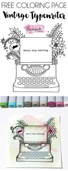Vintage Floral Typewriter Free Coloring Page